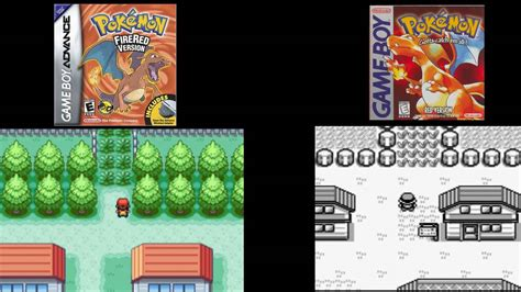 pokemon red  pokemon fire red side  side comparison