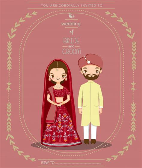 Cute indian couple for wedding invitations card Vector