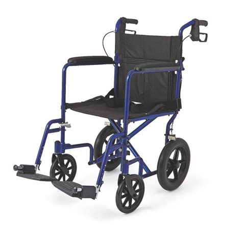 new medline transport chair wheelchair with brakes quot blue