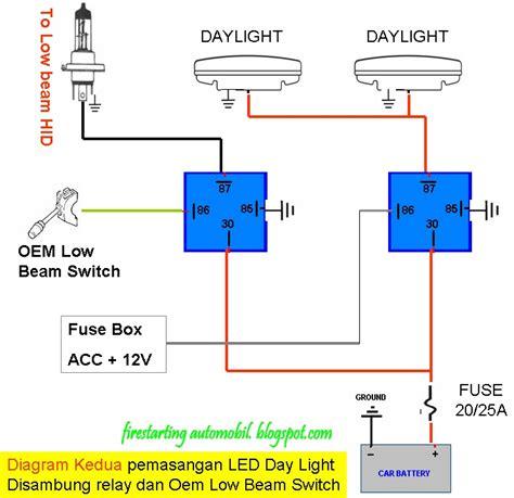 wiring lu led kereta starting automobil diy pemasangan lu led daylight