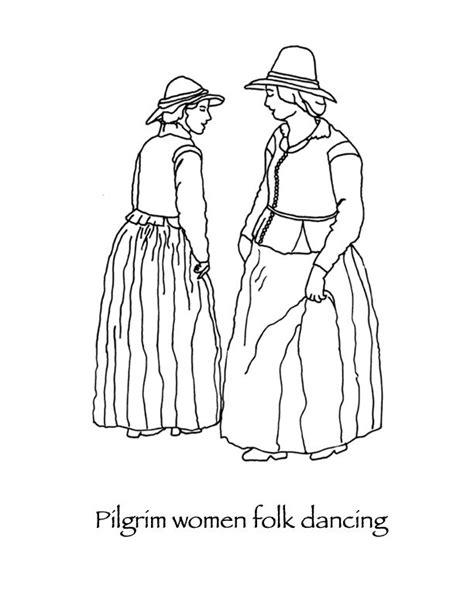 thanksgiving coloring pages pilgrim folk dancing