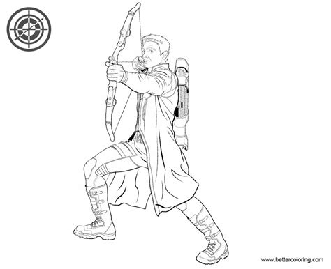 avengers superhero hawkeye coloring pages free printable