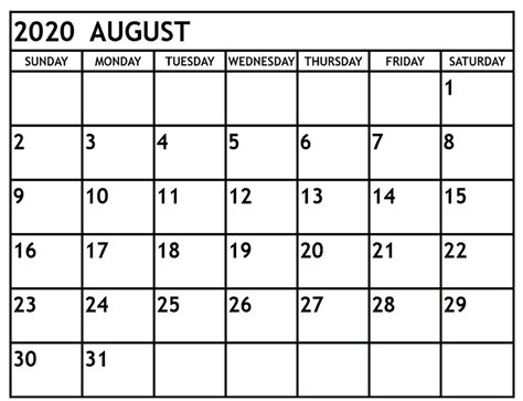 august  calendar  word excel printable template