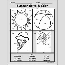 Summer Solve And Color Packet  Math Solve And Color  Summer Math Worksheets Abcteach
