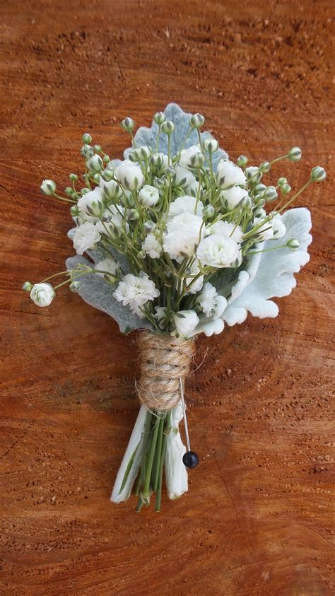 babys breath boutonniere  dusty miller wrapped