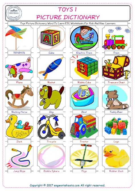 toys esl printable english vocabulary worksheets