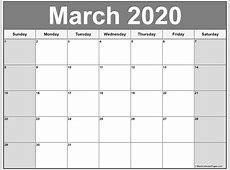 March 2020 calendar 56+ templates of 2020 printable