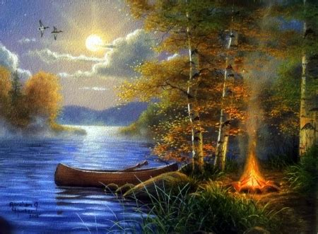 moonlit camp lakes nature background wallpapers