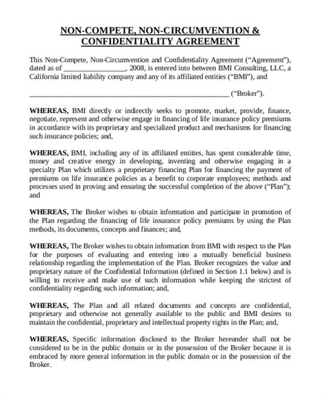 insurance  compete agreement templates  sample