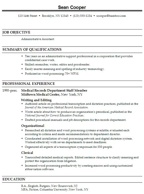 administrative assistant resume resume administrative assistant