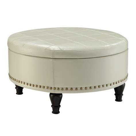 cream colored leather ottoman augusta storage leather ottoman in cream bp auot32 b28