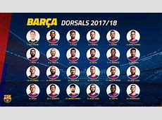 FC Barcelona official shirt numbers for the 201718 seasons