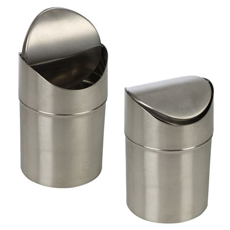 small bathroom trash can with swing lid stainless steel 1 5l small recycling bin swing lid kitchen