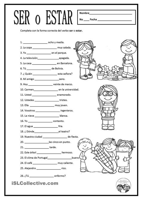 Free Spanish Worksheets Ser O Estar For Some Of These, Either Ser Or Estar Would Work