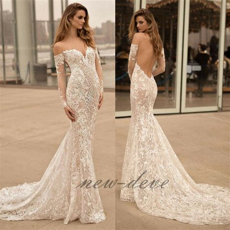 mermaid long sleeves wedding dress white beach lace
