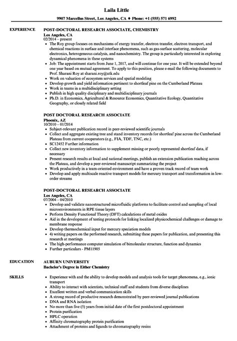 Research Associate Resume by Post Doctoral Research Associate Resume Sles Velvet