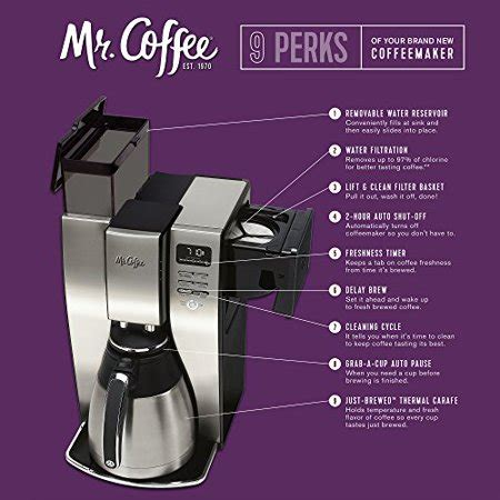 Removable water reservoir for easy filling just brewed thermal carafe holds temperature and fresh flavor brews up to 20% faster. Mr. Coffee 10 Cup Optimal Brew Thermal Coffee Maker ...