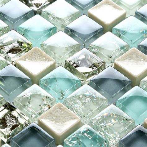 Blue Crackle Glass Bathroom Accessories by Mini 15 15mm Blue Color Crystal Glass Mosaic Tiles For