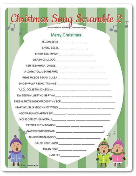 Printable Christmas Song Scramble 2  Holiday Ideas