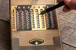 Vintage Manual Calculator From 1930s With A Stylus Stock
