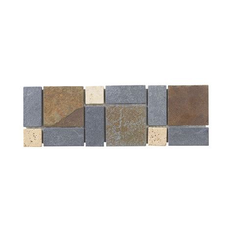 Home Depot Wall Tile Trim by Jeffrey Court Charcoal 4 In X 12 In X 8 Mm Slate Wall