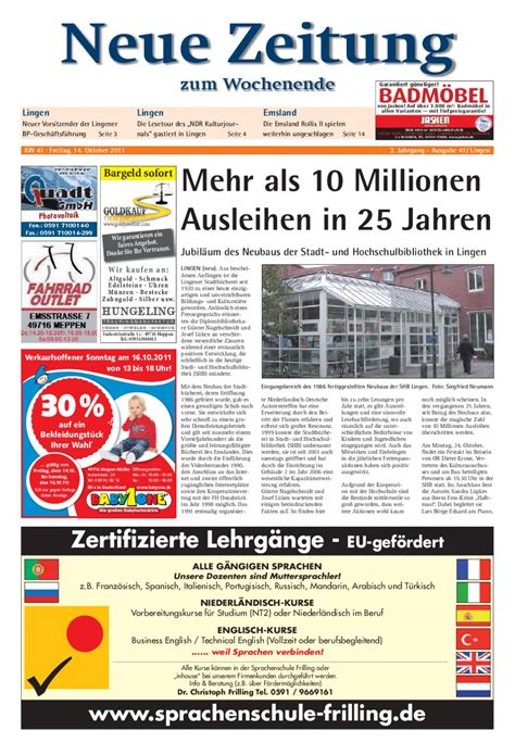 Fliesen Jasken by Neue Zeitung Ausgabe Lingen Kw 41 By Gerhard Verlag Gmbh