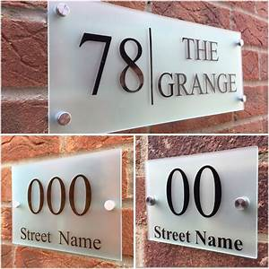 modern house sign plaque door number street frosted glass With glass house numbers and letters
