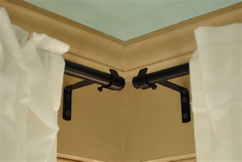 corner curtain rods how to hang corner curtain rods painting the ceiling