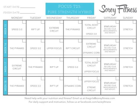 focus  workout schedule  printable calendar