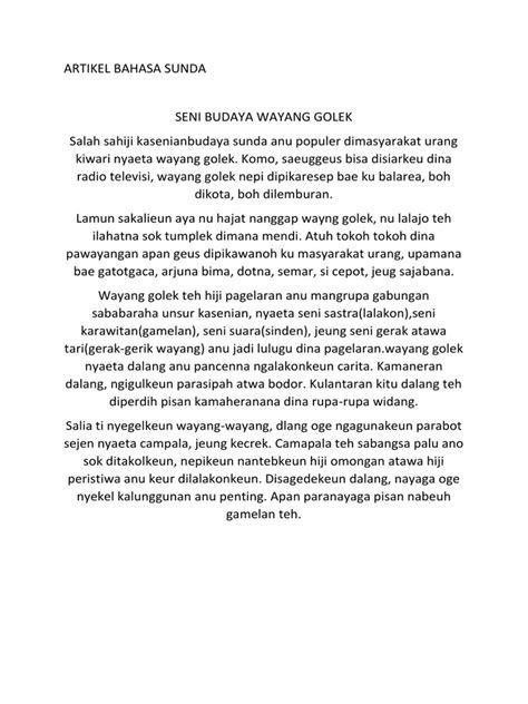 Sd negeri siluman 4 mata pelajaran : Artikel Bahasa Sunda