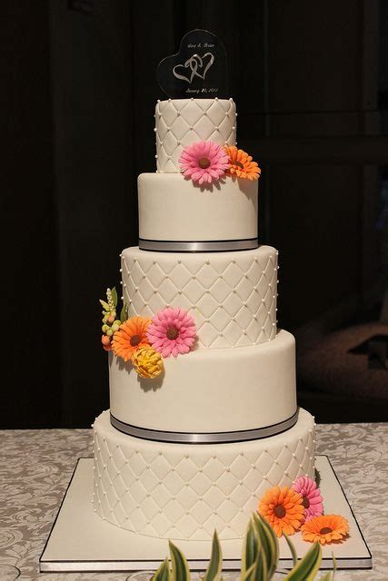 quilted wedding cake  gerbera daisies   cakes