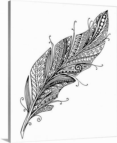 Canvas Coloring Canvasondemand Drawing Feather Ii Single