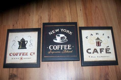 An idea based on that would be to make a coffee bar out of a repurposed window or a large picture frame. Coffee Plaques Kitchen Wall Decor bistro signs Paris Cafe ...
