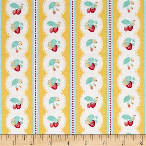 shabby strawberry fabric penny rose shabby strawberry stripe yellow discount designer fabric fabric com