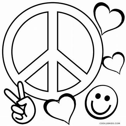 Peace Coloring Pages Sign Adults Printable Symbol