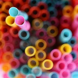 Drinking, Straws, Macro, Abstract, Image, With, Beautiful, Multi