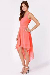 Back s Treat Bows Neon Coral High Low Dress