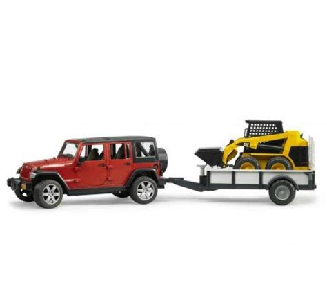 jeep cing trailer bruder jeep rubicon w trailer and cat skid steer 2925 by