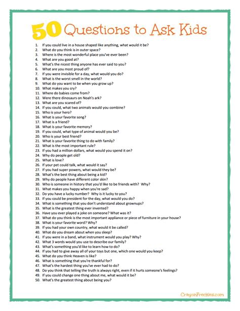 50 Questions To Ask Kids {plus Free Printable}  Cool Family Stuff  Parenting, Kids Questions