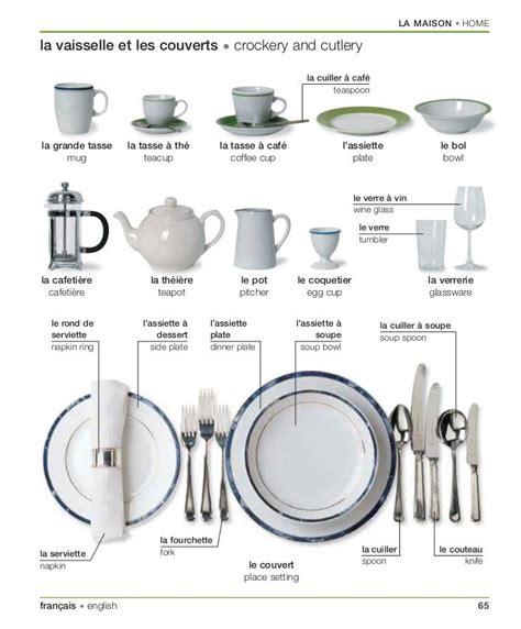couvert de cuisine vocabulaire de la vaisselle et les couverts en français