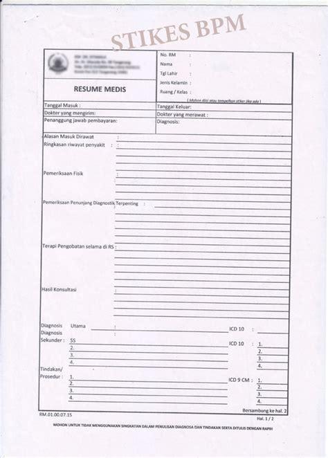 Form Resume Medis by Resume Medis