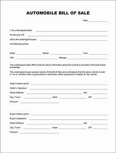 automobile bill of sale form With for sale as is document