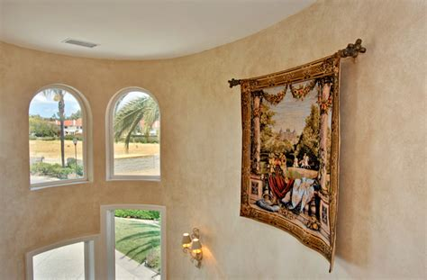 custom home curved wall curved rod  tapestry