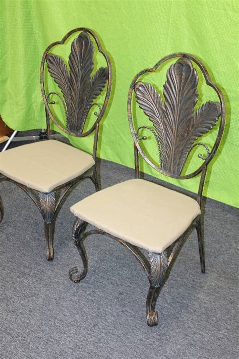 lot of 2 heavy wrought iron dining chairs w new indoor