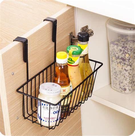 kitchen organizer iron cabinet door hanging storage basket drainer wall shelf spice rack