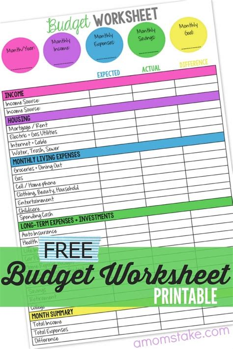 Family Budget Worksheet  A Mom's Take