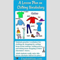 Lesson Plan On Clothing Vocabulary And Shopping  Teaching Vocabulary  Esl Lesson Plans