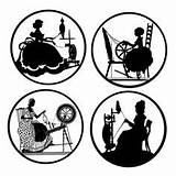 Spinning Silhouette Silhouettes Wheels Die Coloring Wheel Magnets Backed Medallions Pinback Buttons Flat Inch Similar Pottery Cuts Visit Painting sketch template