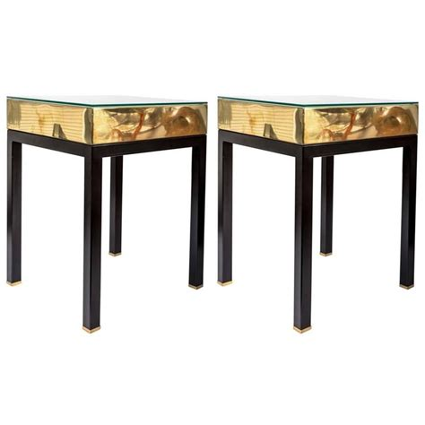 square brass side table pair of square brass side tables with ebonized metal legs