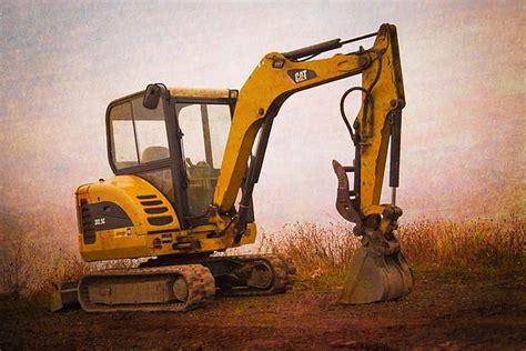 mini excavator art print caterpillar art mini excavator fine art america